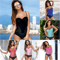 Wholesale underwire padded swimwear for sale - New Solid Patchwork Monokini Women One Piece Swimsuit Mesh Bathing Suit Underwire Padded Swimwear S XL Girl One Piece Bikini Set