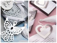 formas de coração de seda venda por atacado-(10 peças / lote) Silver amor Presentes de casamento de Love Story prata-Finish Heart Shaped Bookmark com Tassel de seda elegante para favores de partido do anjo