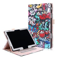 Wholesale painting holder stand resale online - Painted Fabric PU Leather Case with Inner Holder for Huawei MediaPad T5 Inch Tablet Stand Flip Cover Stylus