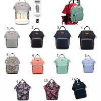 Wholesale plain diapers resale online - USB Mommy Backpacks waterproof Nappy bags Maternity Diaper Organizer Tote with Bottle bag hanging Mat hook MMA2140