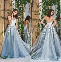 Wholesale bridal flowers pictures resale online - Dusty Blue Beach Prom Dresses Fairy D Floral Lace Bohemian Bridal Gowns Evening Dress Backless Formal Party A Line Wear