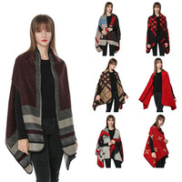Wholesale purple scarf tassels resale online - Women vest tank Scarf Cardigan cm Patchwork Plaid Poncho Cape Tassel Winter Warm Blanket Cloak Wrap Shawl Coat LJJA3045