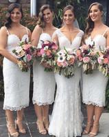 vestidos de cocktail curtos para casamentos venda por atacado-Chique Curto País Ocidental Casamentos Do Jardim Dama de Honra Vestidos de 2019 Vestidos de Cocktail de Comprimento de Chá de Espaguete Correias Mãe vestido BM0340