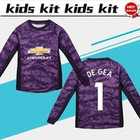 niños púrpura camisetas de fútbol al por mayor-2020 Kids Kit Mangas largas Unite portero Camisetas de fútbol 19/20 Traje infantil morado # 1 DE GEA # 13 GRANT uniformes de fútbol jersey + shorts