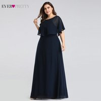 Wholesale pretty caps for women for sale - Group buy Evening Dresses Long Ever Pretty Cheap Elegant Navy Blue A line Chiffon Evening Gowns For Women Short Sleeve Robe De