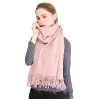ingrosso lunghe perle faux-Nuove sciarpe delle donne autunno inverno moda sciarpa di perle scialli Faux Cashmere Poncho Wrap tinta unita sciarpa lunga calda per le donne