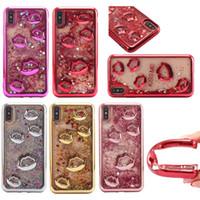 iphone schwimmender glitterfall großhandel-3D Kiss Me Electroplated Quicksand Glitter Case Weiche, klare TPU-Rückseite schwimmende Flüssigkeit Bling Sparkle Case für iPhone X 8 7 Samung S8 S9