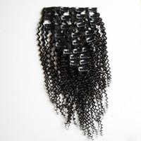 extensions de cheveux afro-américains noirs achat en gros de-Kinky Clip bouclés dans les extensions de cheveux pour femme noire 100g / Set clip afro-américain dans les extensions de cheveux humains