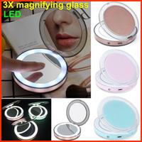 dokunmatik ekran gözlükleri toptan satış-Portatif LED Aynalar şarj edilebilir Makyaj Ayna Dokunmatik Ekran LED Aynalar 2 Yüz 1X 3X Büyüteçler Kenar Işık Lady Kozmetik aletler