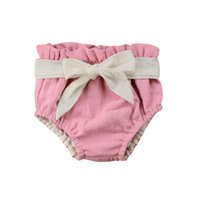 Wholesale hot diaper girls for sale - Group buy Summer kids pink shorts bow knot cotton bloomers hot sale triangle shorts princess girl cotton nappy diaper covers shorts