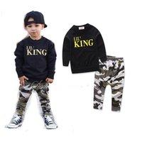 ingrosso vestito nero dei ragazzi 12-Hot Boy Abbigliamento 2019 Ragazzi Autunno e Inverno Suit KING Letter Jacket + Camouflage Pants Casual nero per bambini Suit