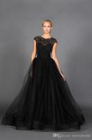 réception blanc noir achat en gros de-Tulle perlé noir moderne une ligne-gothique robe de mariée simple réception non blanche informelle robes de mariée