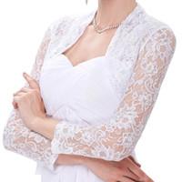 Wholesale black bolero short sleeve resale online - Vintage Dress Women s Long Sleeve Floral Lace Shrug Bolero Cardigan