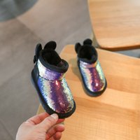 Wholesale year baby boy shoe winter for sale - Group buy 2019 Winter Camouflage Sequins Girls Snow Boots Toddler Shoes Years Old Baby Cotton Shoes Bling Infant Girl