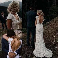 Wholesale low back lace wedding dresses beach resale online - White Lace Garden Boho Wedding Dresses Vintage V Neck Country Beach Bridal Gowns Vestidos De Novia Low Back A Line Wedding Dress