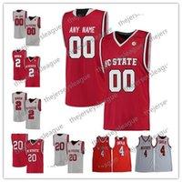 13 camiseta de baloncesto roja al por mayor-NC State Wolfpack Custom Cualquier nombre Cualquier número Blanco Rojo cosido # 13 CJ Bryce 24 Devon Daniels NCAA Jersey de baloncesto universitario