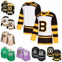camisolas dias venda por atacado-Dia costume Hockey Charlie McAvoy Jerseys Boston Bruins Ryan Donato John Moore Noel Acciari Brandon Carlo Tuukka Rask Torey Krug St Patricks