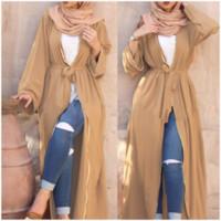 türkische roben groihandel-New Abaya In Dubai Kleid Muslimische Robe Burqa Kuftan Pakistanische Kleider Frauen Marokkanischer Kaftan Türkische Strickjacke Lange arabische Kleidung