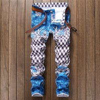 пледные тощие джинсы оптовых-Fashion designer pantalon homme light blue slim fit skinny jeans pp fashion hip hop casual pants mens printed plaid jeans men