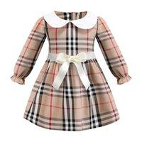 Wholesale baby dress online - INS girl dress Hot sell spring Girls Kids long Sleeve dress kids causal high quality cotton baby kids lapel big plaid dress