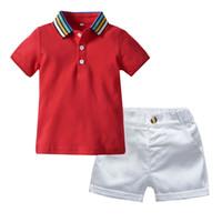 радужные детские костюмы оптовых-Cotton boy summer suit Toddler Baby Boy Gentleman Rainbow T-Shirt Tops+Solid Shorts Clothes Outfit roupa infantil  #06