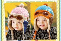 kızlar külahı kulaklıklar toptan satış-Bebek şapka sonbahar ve kış erkek ve kız havacı gözlük kap Koreli çocuk bebek etkilidirler artı kadife kap JXW246