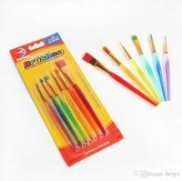 DIY Children 6 Pcs Set Watercolor Brush Transparent Colorful Rod Art Painting Brush Durable Students Soft Brush Drawing Pen BH1200 TQQ