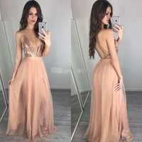 Wholesale lilac bridesmaid dresses for sale - Rose Gold Sequin Split Prom Dresses Deep V Neck Backless Bridesmaid Party Gowns Long Pageant Gowns Cheap Custom