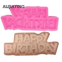 mutlu yıllar silikon kalıp toptan satış-M1332 Mutlu doğum günü Sugarcraft Silikon Kalıp Mektubu formu Çikolata Fondan Kek Dekorasyon Araçları tatlı dekoratörler