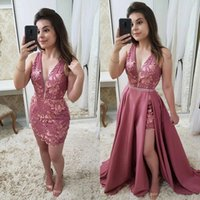 Wholesale two piece evening dress for sale - Group buy 2020 Glamorous Two Pieces Evening Prom Dresses With Overskirt Sheath V Neck Appliques D Flora Mini Dress Cocktail Prom Gowns BC2903