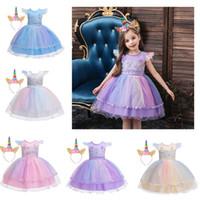 cintas para la cabeza bordadas al por mayor-trajes de cosplay al por menor de las muchachas del unicornio de Halloween bordó el vestido de la princesa perlada de ropa de diseño de la venda de los niños niñas vestidos de novia