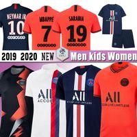 envío de dhl jerseys tailandeses al por mayor-MBAPPE 19 20 Maillots PSG camiseta de fútbol Paris Icardi Cavani Marquinhos Ander Herrera 10Neymar Jr Mujeres Hombres Niños kit conjuntos uniforme