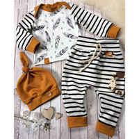 Wholesale zebra tutu outfits resale online - Newest INS Baby Newborn Baby Boy Girl Clothes Feather T shirt Tops Striped Pants Clothes Outfits Set brown Children Clothing Sets