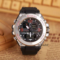 Wholesale display plastic tags resale online - Brand PRO Men Sports Watches Dual Display Analog Digital G LED Electronic Quartz Wristwatches ga100 PRW Military Shockproof Watch