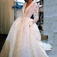 Wholesale bows button dress images resale online - 2020 Vintage Full Lace Wedding Dresses Sexy Deep V Neck Long Sleeves Bridal Vestidos Court Train Plus Size Wedding Gowns Zipper Back