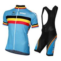 ingrosso bandiere della lycra-Sportwear Uomo Bandiera Belgio Maglia ciclismo manica corta blu Set 2019 Pro Team Summer Quick Dry Abbigliamento Mtb Abbigliamento Racin Ropa Ciclismo