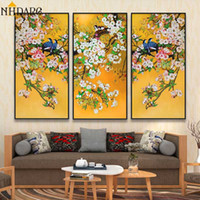 Wholesale chinese abstract art paintings for sale - Group buy 3 Panels Chinese Style Plum Blossom Birds Posters and Prints Canvas Painting Wall Art Wall Pictures for Living Room Home Decor