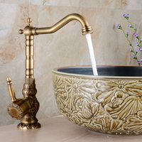 Wholesale antique brass kitchen handles for sale - Group buy Brass Kitchen Faucet European Antique Faucet Retro Carved Basin Rotating Single Handle Tap Brass bathroom accessories