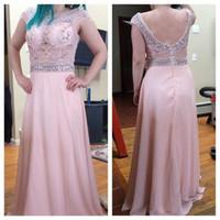 vestidos de dama de gasa abalorios al por mayor-Pink A Line Vestido largo de gasa Vestidos de noche Beading personalizado Vestido de novia Ocasión especial Vestido de fiesta de dama de honor