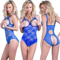 tamanho da roupa interior xxl venda por atacado-Laço Sexy Underwear Womens Moda Lingerie Siamese Garter Pijama Cor Sólida Ligas Plus Size S-4XL
