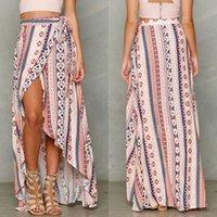 faldas largas de verano de hendidura al por mayor-2019 señoras de las mujeres Kaftan Vestido de corte largo de la falda maxi de Boho del verano vestido de la playa Sun NUEVO