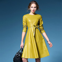Wholesale leather swings for sale - Group buy Women Unique Design PU Leather Runway Dresses Autumn Winter New Long Sleeve Big Swing Dress Yellow Black In Stock