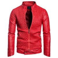 ingrosso uomini rossi biker-Giacche e cappotti da uomo in pelle nera e rossa primavera Plus Size 3XL Giacca da uomo in pelle stile europeo per motociclisti Streetwear A578