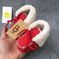 Wholesale baby girl moccasins resale online - 2019 Baby Boys Girls Snow Boots Winter Warm Newborn First Walker Shoes Soft Sole Anti slip Infant Moccasins Sneakers