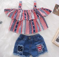 Wholesale baby wear star online - Kids Clothing Baby Girls Children s wear pure cotton star strap top worsted denim ripped shorts two piece set