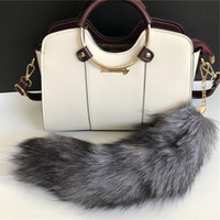 50pcs Real Silver Fox Tail Fur Bag Charm Keychain Cosplay Car Keys Pendant