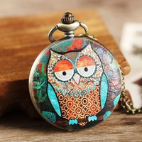 Wholesale antique womens pocket watched for sale - Group buy Vintage Full Hunter Mens Womens Pocket Watch Colorful Owl Case Big Dial Quartz Watch With Pendent Necklace New Designer