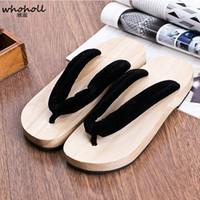 chaussures en bois chaussons achat en gros de-WHOHOLL Geta Man Sandales Style Japonais Sandales En Bois pour Hommes Tongs Diapositives Pantoufles Plateforme Plate Chaussures COS