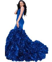 vestidos azules asequibles al por mayor-2019 azul real vestidos de fiesta vestidos de noche sexy cuello en V sin mangas sirena volantes de organza falda vestidos de fiesta formales