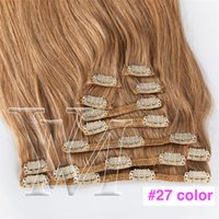 Wholesale dark brown blonde clip resale online - European g Natural Color Brown Blonde Straight to inch Double Drawn Clip In Virgin Remy Human Hair Extensions